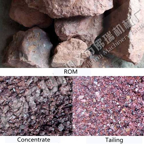 Results of beneficiation of hematite